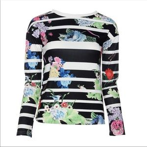 Tops - 2 LEFT! Small Long Sleeve Floral & Stripe T-shirt